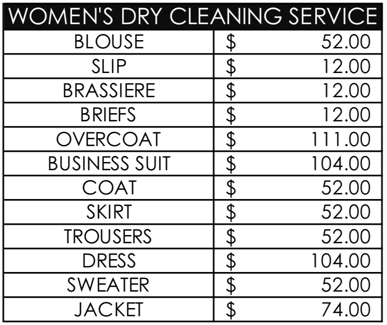 Women's dry cleaning